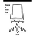 office chair on wheels in a contour on a white vector image
