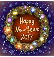 Christmas happy new year 2017 gold wreath vector image