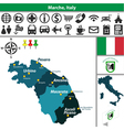 Map of Marche vector image vector image