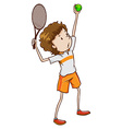 A young tennis enthusiast vector image