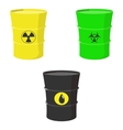 Set barrels oil toxic and nuclear waste vector image