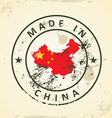 Stamp with map flag of China vector image