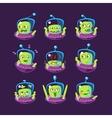 Alien In Ufo Emoji Set vector image vector image