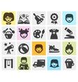 Kindergarten school set black icons signs and vector image