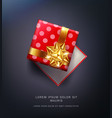 red pea gift box with a gold bow vector image