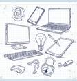 set of hand drawn icons computer technology vector image
