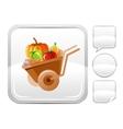 Wheelbarrow icon on silver button vector image