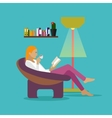 Young woman at home sitting on modern chair vector image