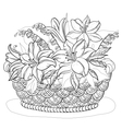 Basket with flowers contours vector image