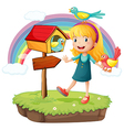 A girl beside a wooden mailbox with three birds vector image vector image