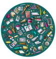 set of designer cartoon doodle objects symbols vector image