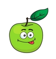 Green cartoon apple with goofy expression vector image