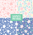 Collection of 4 floral colorful seamless patterns vector image vector image