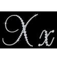 Diamond alphabetic letters of X vector image