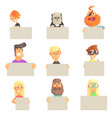 different people holding blank boards set smiling vector image