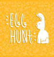 easter rabbit card quote on doodle background vector image