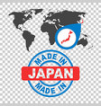 made in japan stamp world map with red country vector image
