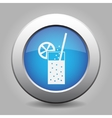 blue metal button - glass with carbonated drink vector image