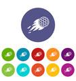 burning golf ball icons set flat vector image