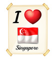 I love Singapore vector image vector image