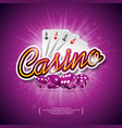 casino with color playing chips poker vector image