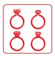 Diamond engagement ring icons set 3 red vector image