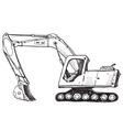 Doodle excavator drawing vector image