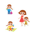 girl going to school playing walking with mom vector image