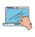 laptop computer with hand user touching vector image