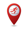 Map pointer with ski track icon vector image