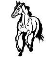 running horse black white vector image