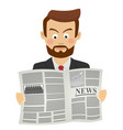 serious businessman reading newspaper vector image