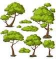 Set of funny cartoon trees and green bushes vector image