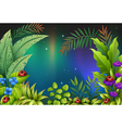 Five bugs in a rain forest vector image vector image