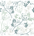 repeating white and green floral pattern vector image vector image