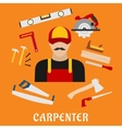 Carpenter and his toolbox tools vector image