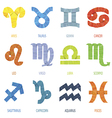 Color geometric polygon zodiac signs and icons vector image