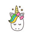 cute unicorn cartoon character vector image