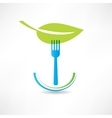 green leaf and blue fork icon vector image