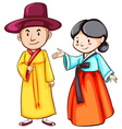 Simple drawing of two Asian people vector image