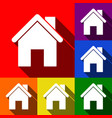 Home silhouette set of icons vector image