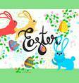 happy easter bunny in spring season vector image