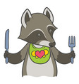 Cute cartoon raccoon holding a knife and fork vector image