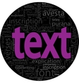 text concept black backgroung in word tag cloud vector image vector image