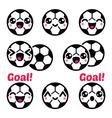 Kawaii soccer ball football icons set vector image