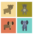 assembly flat icons nature bear elephant vector image