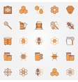 Beekeeping colorful icons vector image