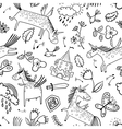 doodle seamless pattern with magic unicorns vector image
