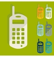 Flat design old mobile phone vector image