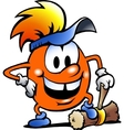 Hand-drawn of an Orange Gobling with a big hammer vector image